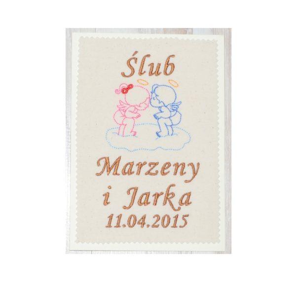 kartka z imionami pary