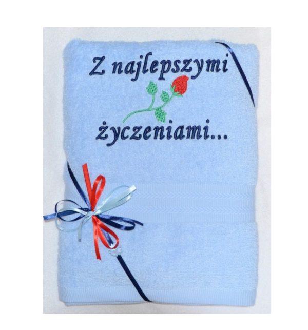 recznik z haftem i różą