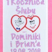 kartka z haftem serca na rocznicę ślubu