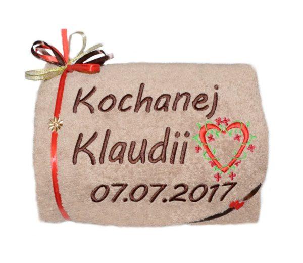ręcznik z haftem na prezent