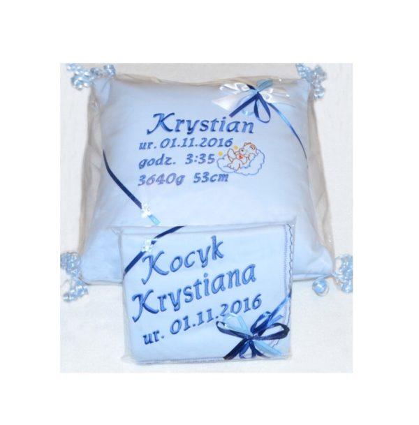 zesatw poduszka z haftem i kocyk z haftem dla dziecka