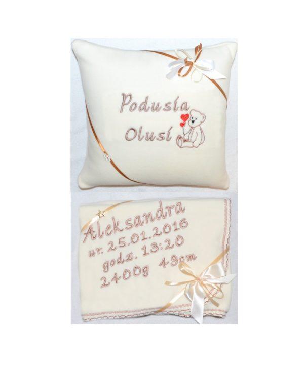 Zestaw I: Kocyk polarowy i poduszka z haftem
