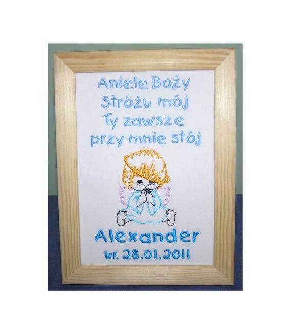 obrazek z aniołkiem na chrzest, urodziny