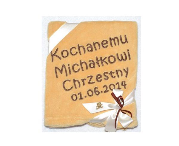 Kocyk z mikrofibry z haftem na Chrzciny